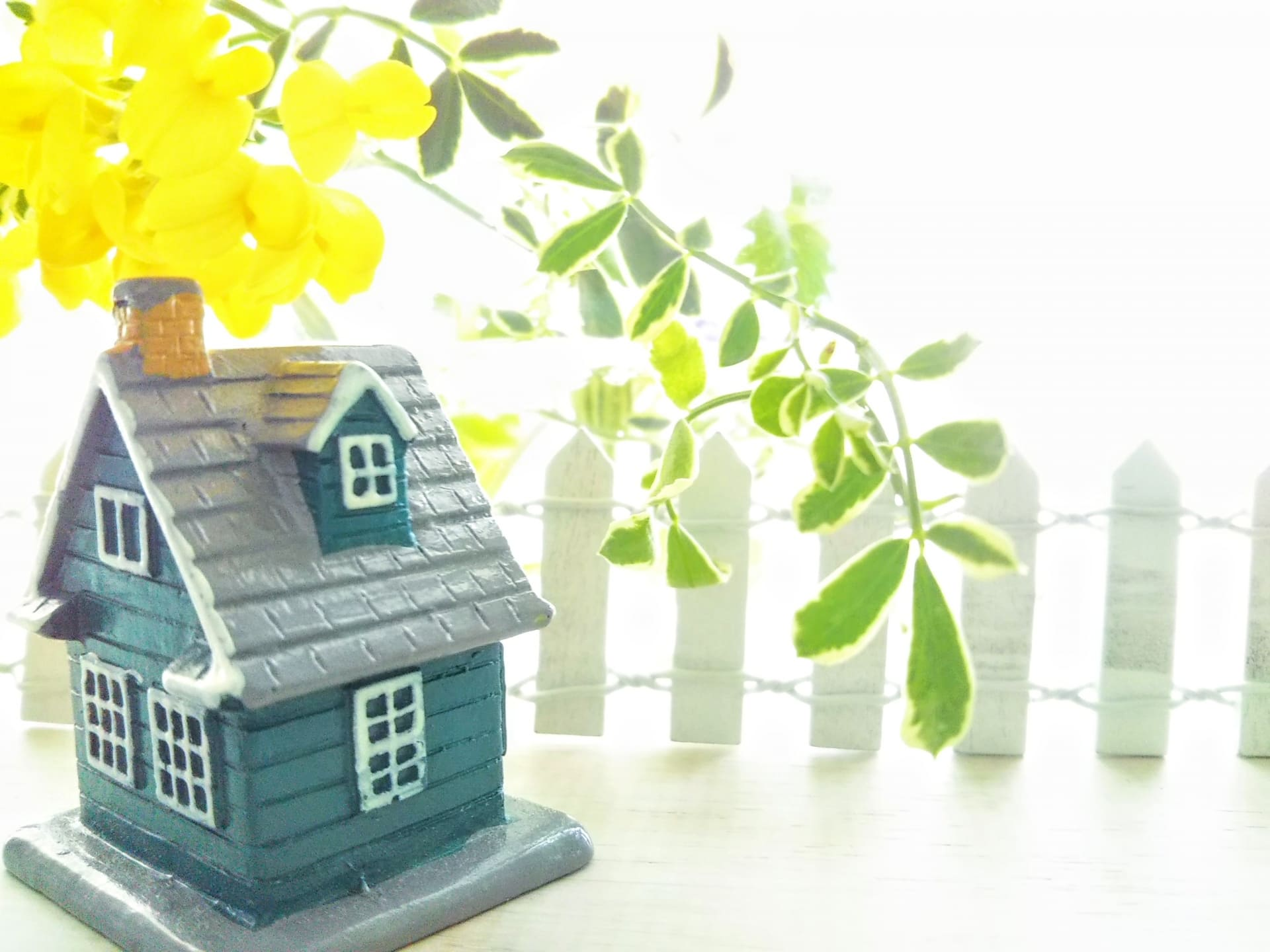 家のミニチュアと緑